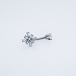 Silver Belly Button Ring with Clear Crystals