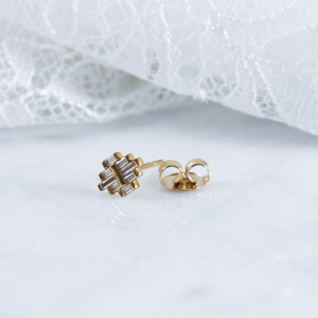 Arroyo Earrings Cute Stud Earrings in Gold. Hypoallergenic.