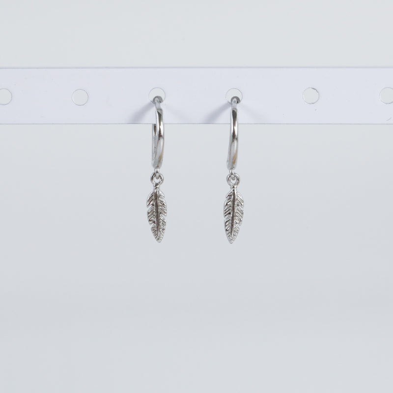 Feather Huggie Hoop Earrings (Pair)