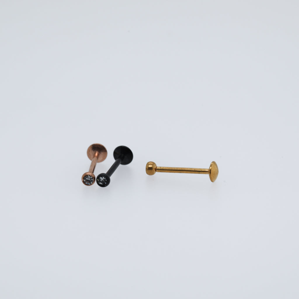 Threadless Gem Labret Piercing Jewelry
