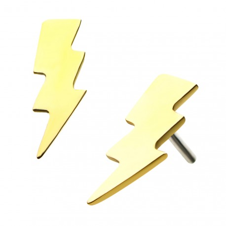 14kt Gold Threadless Lightning Bolt Labret CUSTOM ORDER