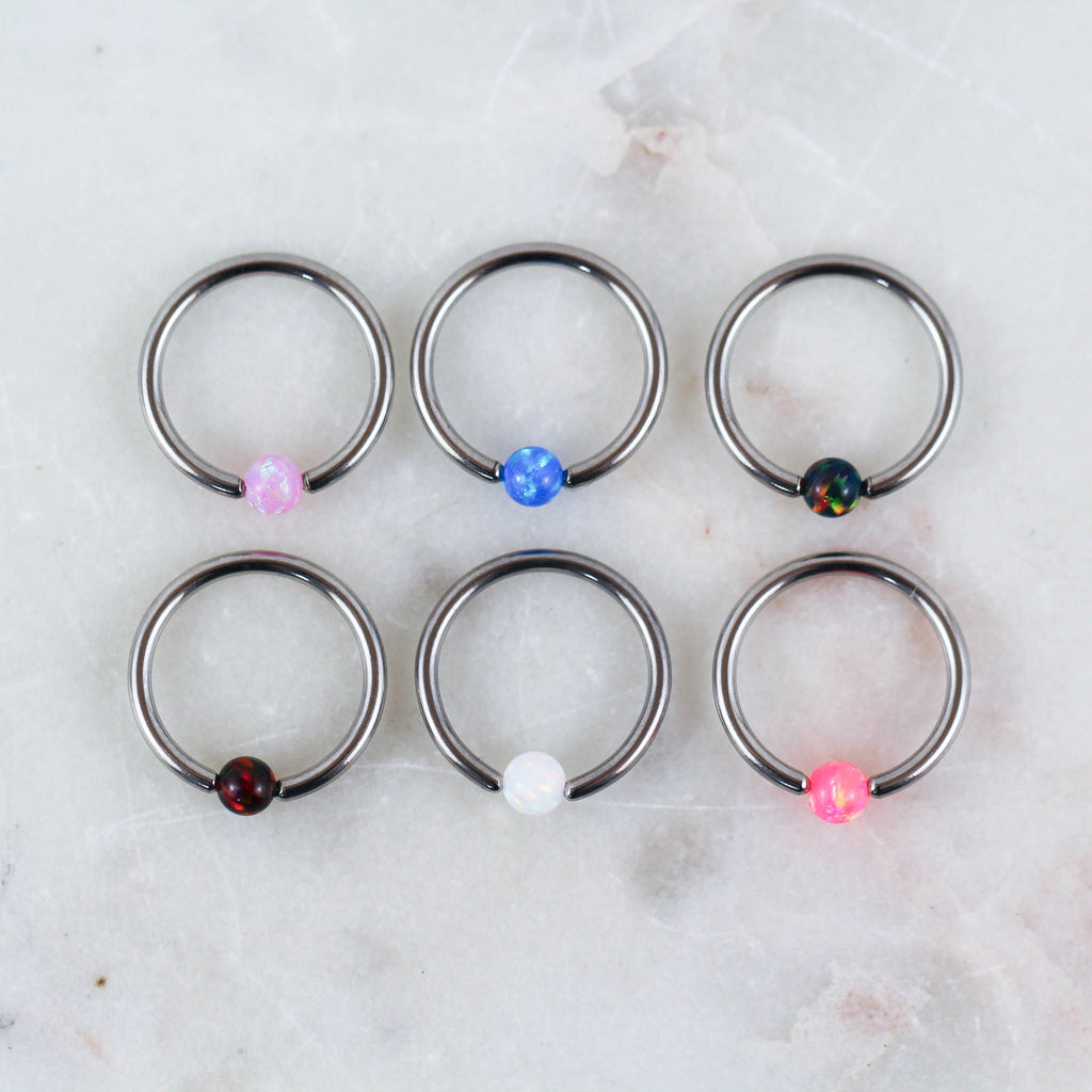 Opal Piercing Jewelry Captive Bead Rings