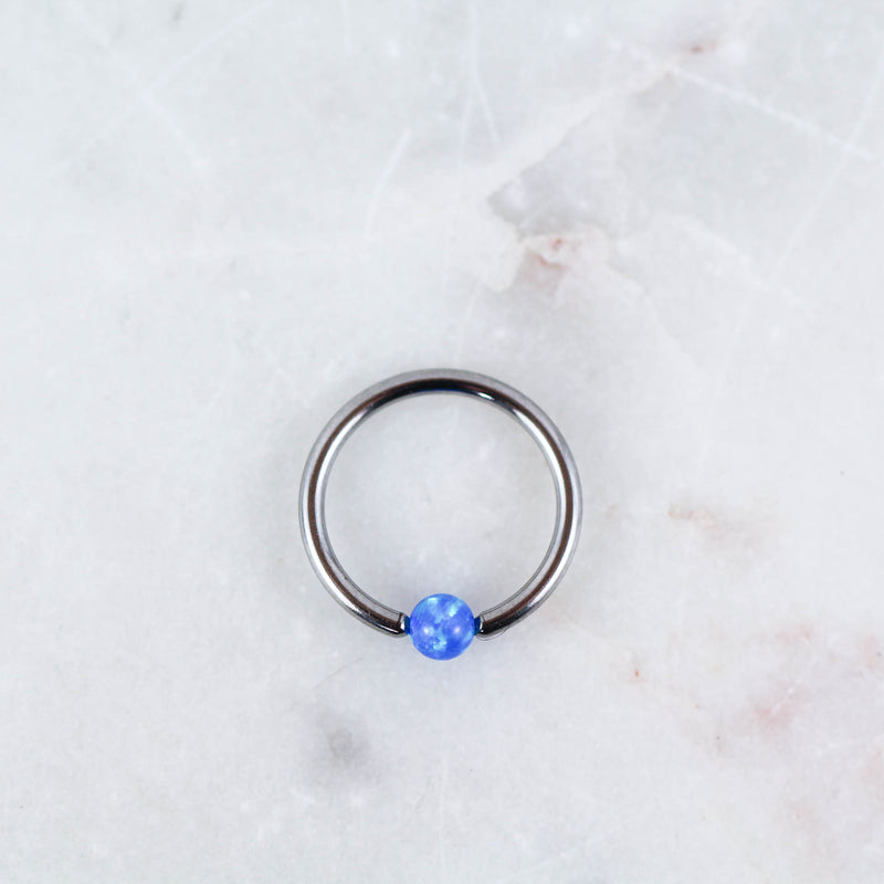 Opal Captive Bead Ring Piercing Jewelry in Silver with Blue Opal