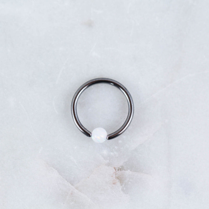 Opal Captive Bead Ring Piercing Jewelry in Silver with White Opal