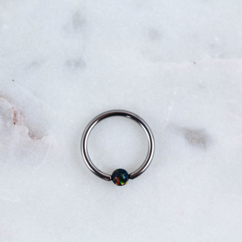 Opal Captive Bead Ring Piercing Jewelry in Silver with Black Opal