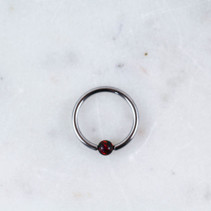Opal Captive Bead Ring Piercing Jewelry in Silver with Red Opal