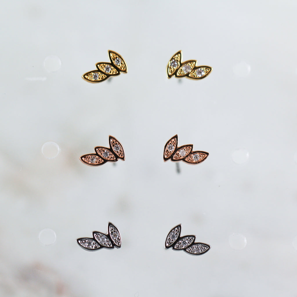 Three Leaf Earrings in Gold, Rose Gold, or Silver Cute Hypoallergenic Stud Earrings
