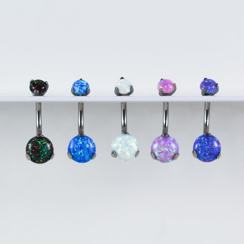 Titanium Opal Belly Button Rings with Internal Threading for your Navel Piercing