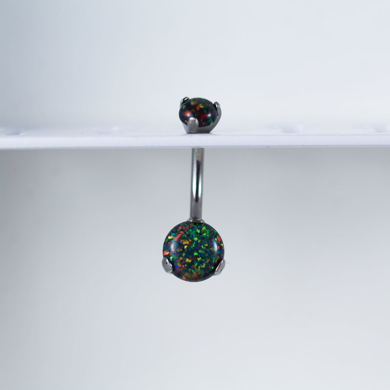 Black Opal Titanium Opal Belly Button Ring with Internal Threading for your Navel Piercing
