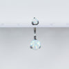 White Opal Titanium Opal Belly Button Ring with Internal Threading for your Navel Piercing