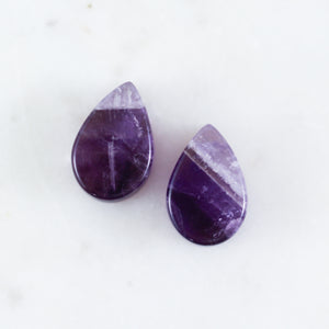 Amethyst Teardrop Plugs (Pair)