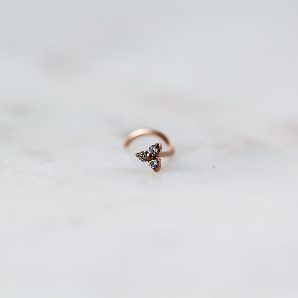 Crystal Trinity Nose Ring in Rose Gold Nose Studs