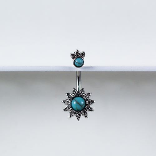 Turquoise Sunflower Belly Ring