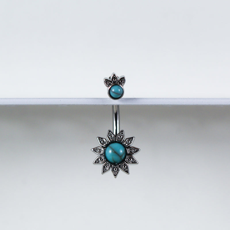 Turquoise Sunflower Belly Button Ring in Silver with Turquoise Gems and Crystals for your Navel Piercing