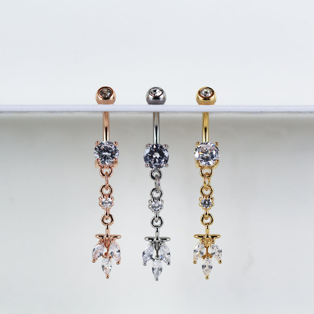 Dangling Belly Button Ring with Crystals in Silver, Rose Gold, or Gold Colored for your Navel Piercing