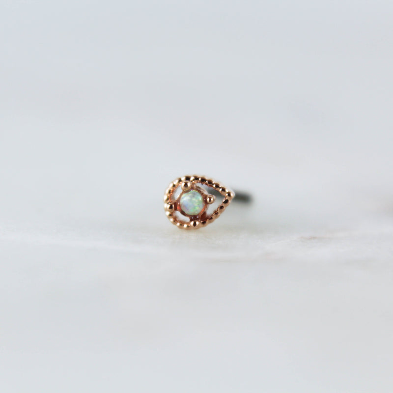 Opal Scalloped Drop Nose Ring nose piercing nose ring nose stud opal nose jewelry opal nose ring rose gold nose ring gold opal nose ring