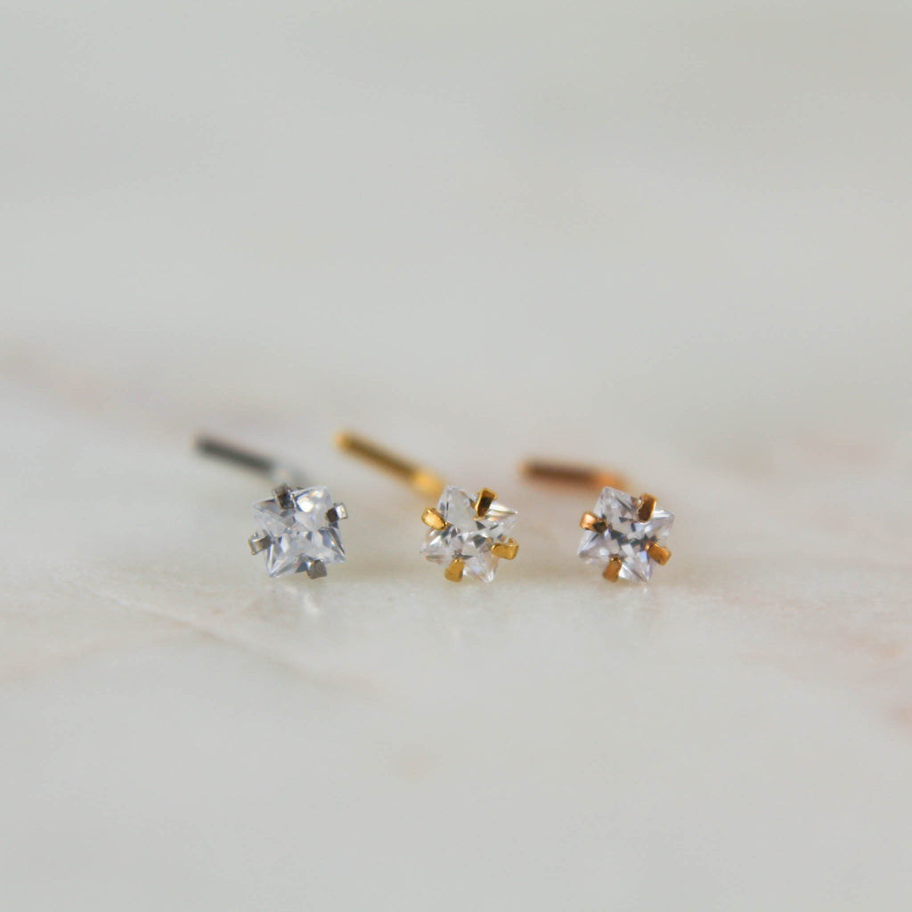 Square Gem Nose Rings in Silver, Gold or Rose Gold Nose Studs