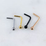 Tiny Ball Nose Ring Nose Stud in Silver Gold Black or Rose Gold