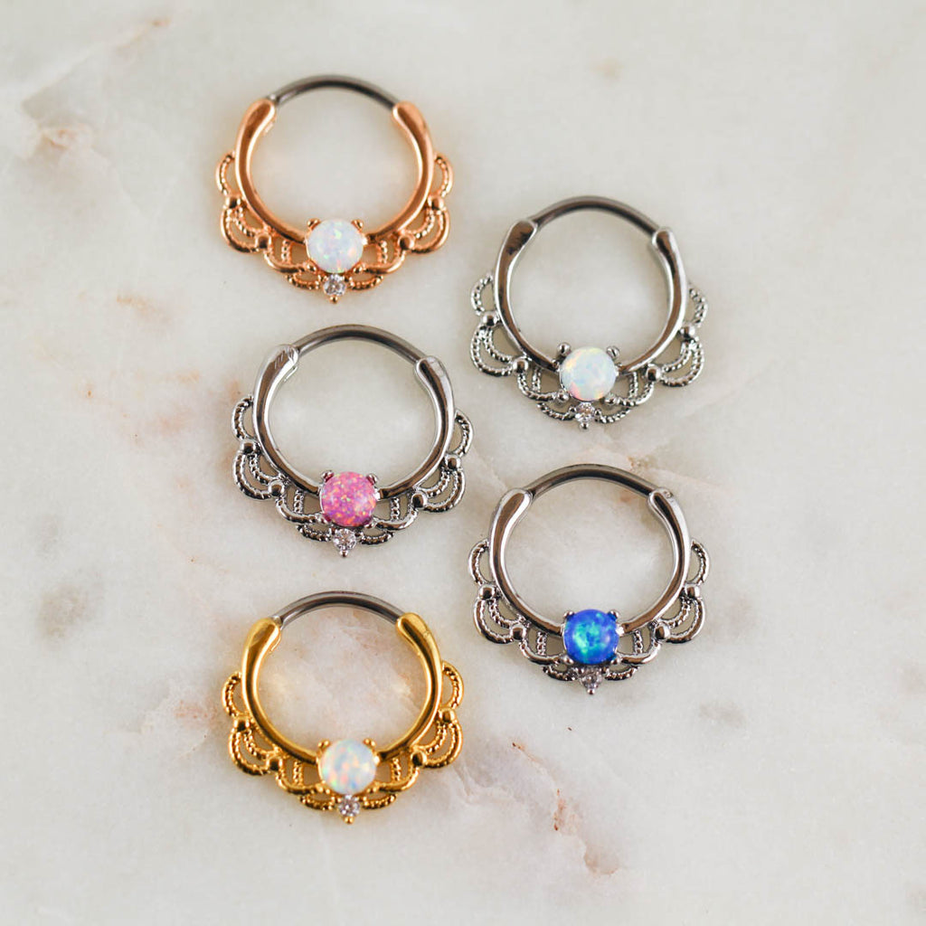 Opal Septum Piercing Jewelry Opal Daith Ring Opal Septum Ring Piercing Jewelry Silver Rose Gold Gold Hoop Clicker Piercing Jewelry