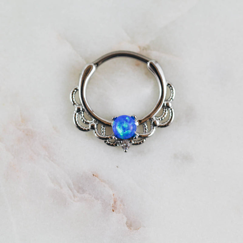 Opal Septum Piercing Jewelry Opal Daith Ring Opal Septum Ring Piercing Jewelry Blue Opal Hoop Clicker Piercing Jewelry