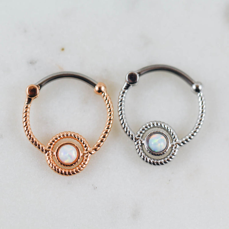 White Opal Rose Gold Silver Septum Piercing Jewelry Daith Piercing Jewelry Opal Piercing Jewelry Opal Septum Clicker Opal Daith Jewelry