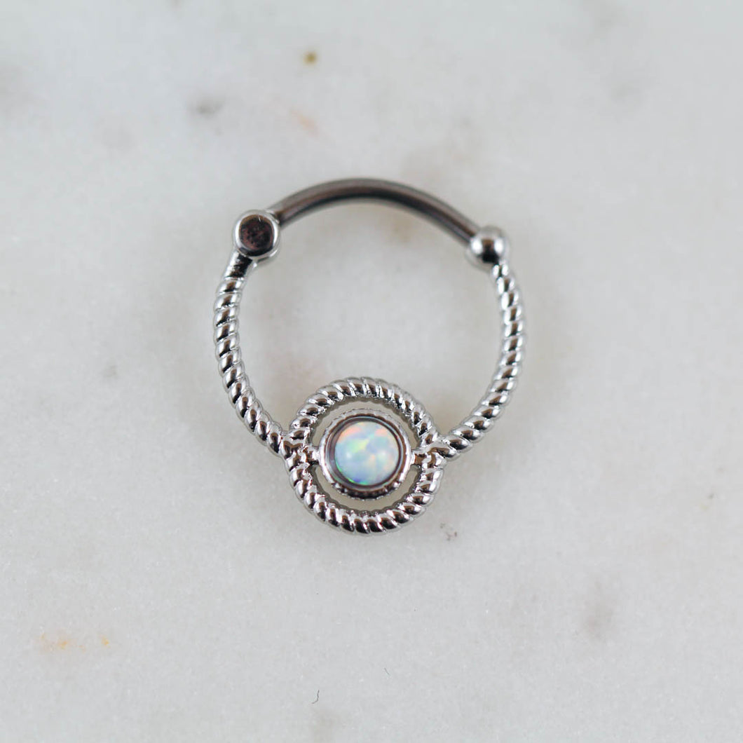 White Opal Silver Septum Piercing Jewelry Daith Piercing Jewelry Opal Piercing Jewelry Opal Septum Clicker Opal Daith Jewelry