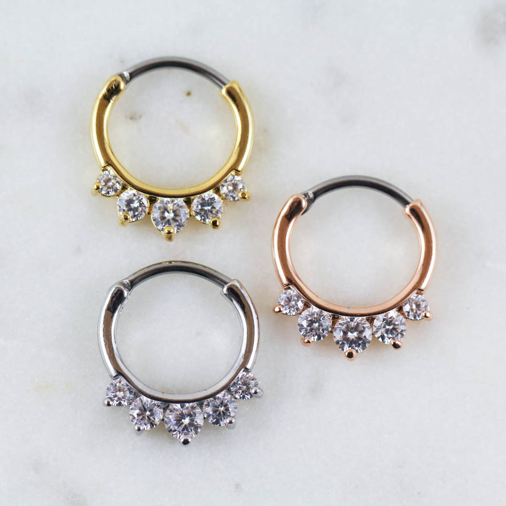 Crystal Septum Clicker Septum Jewelry Daith Clicker Daith Jewelry Rose Gold Gold Silver Daith Jewelry Septum Piercing Daith Piercing