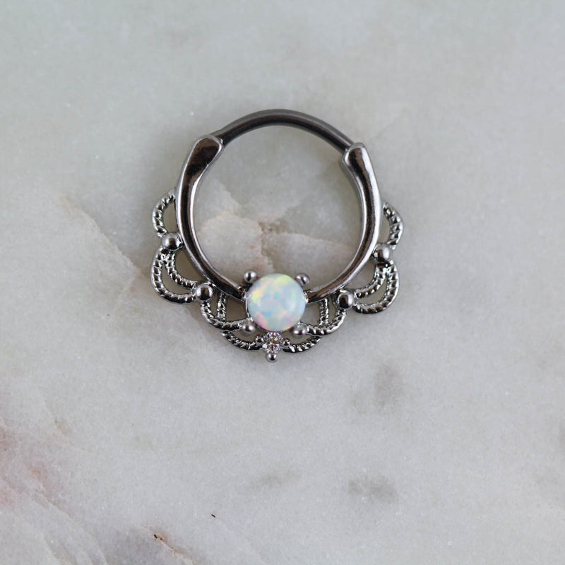 Opal Septum Piercing Jewelry Opal Daith Ring Opal Septum Ring Piercing Jewelry White Opal Hoop Clicker Piercing Jewelry