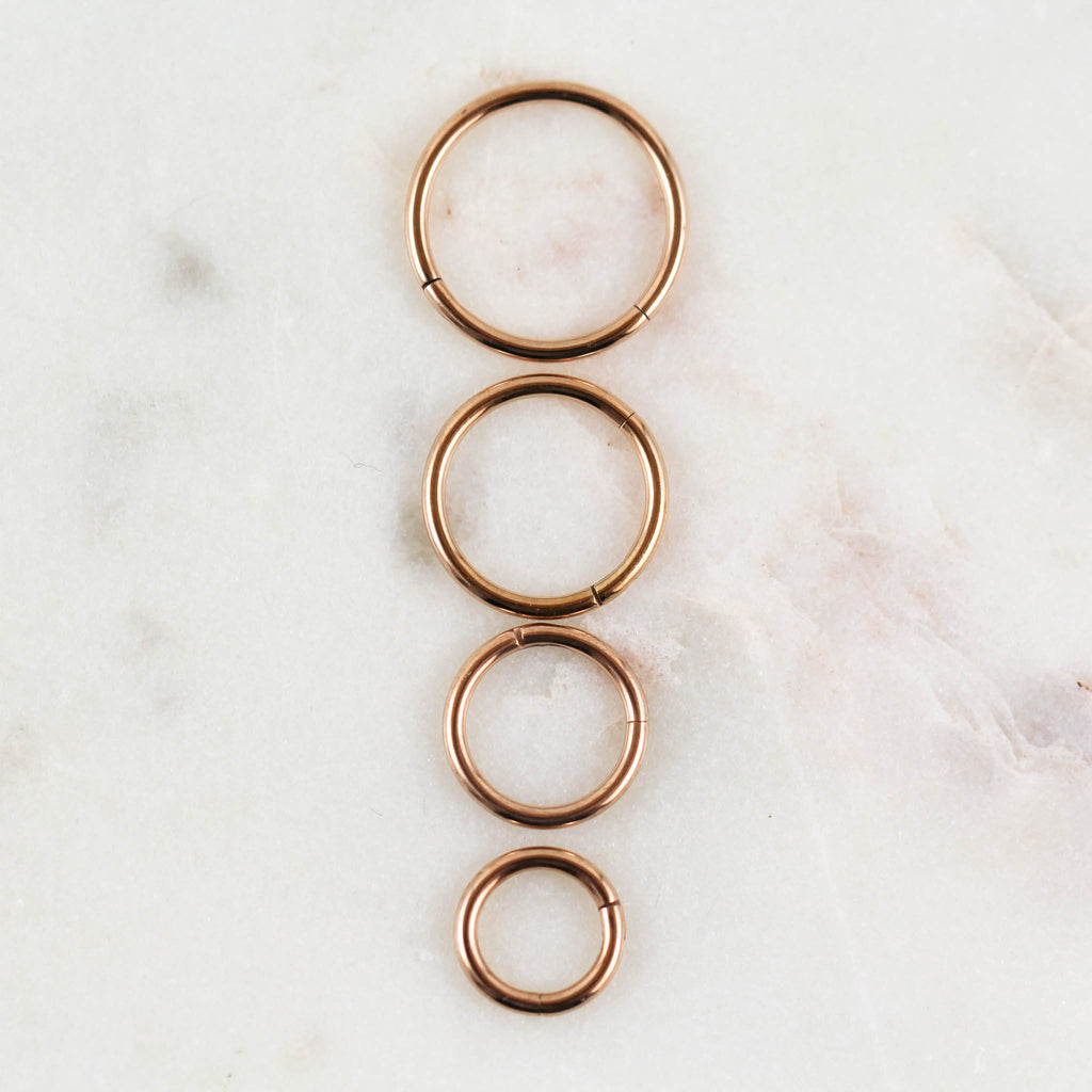 Conch Piercing Hoop in Rose Gold.