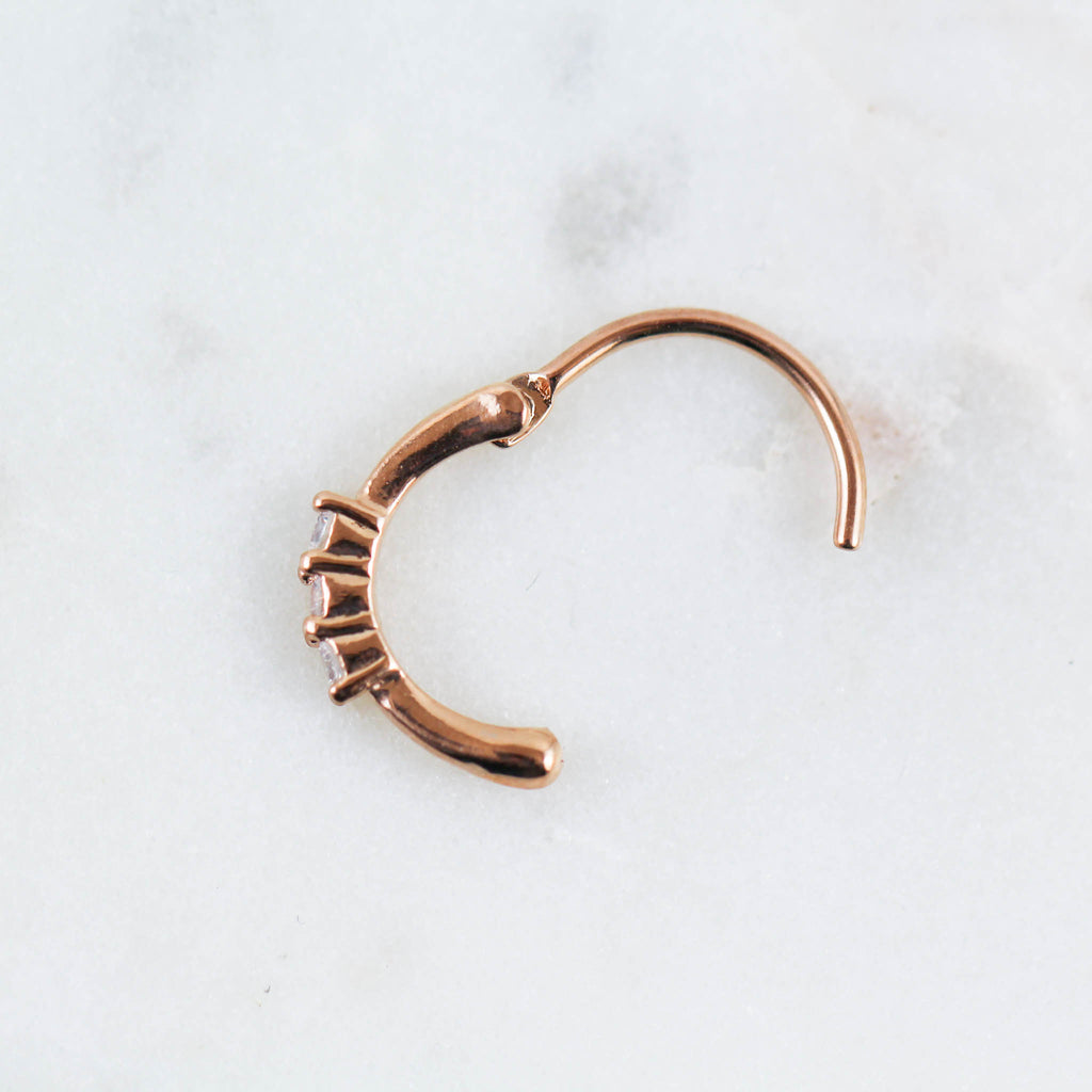 Rose Gold 10mm Conch Piercing Hoop with Three Crystals Side View