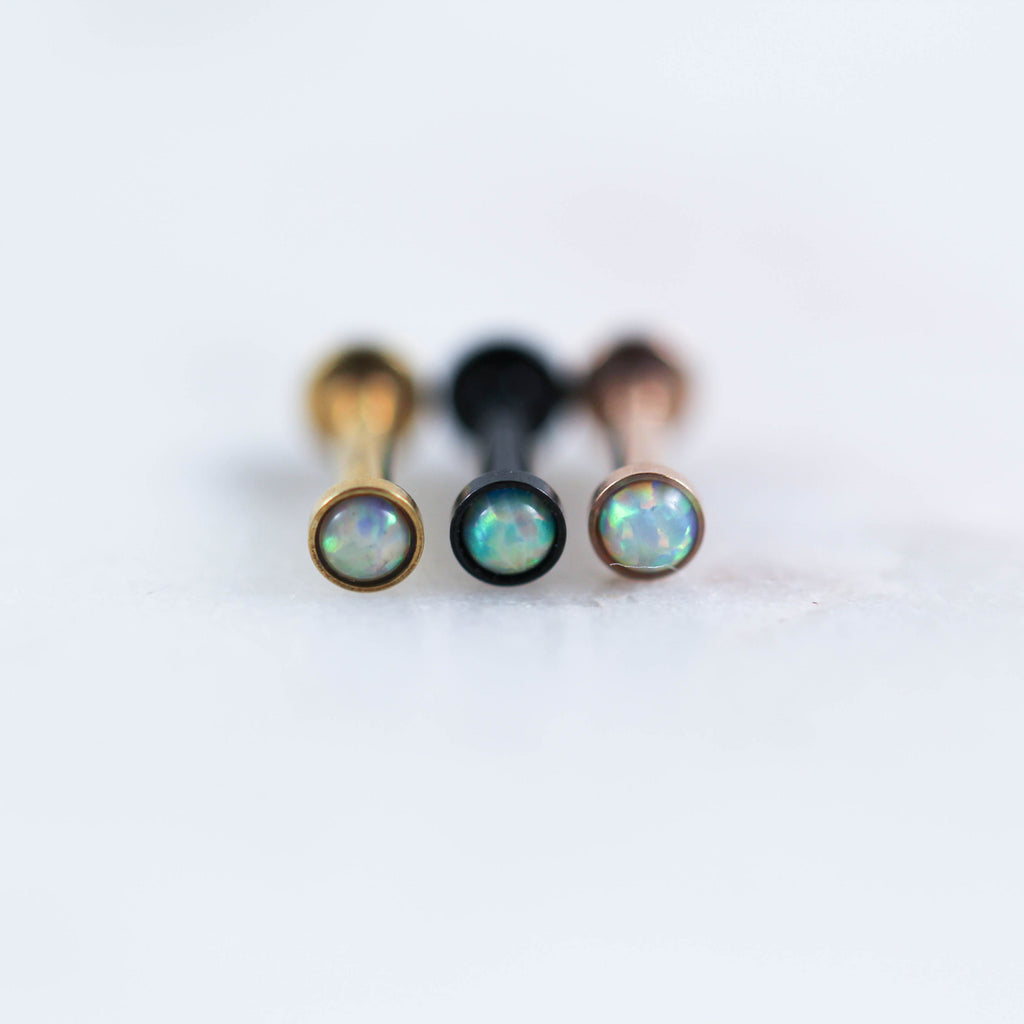 White Opal Rose Gold Gold Black Labret Piercing Jewelry Body Jewelry Internally Threaded Piercing Jewelry Cartilage Stud Cartilage Earrings Tragus Earring Forward Helix Piercing Jewelry Helix Piercing Jewelry