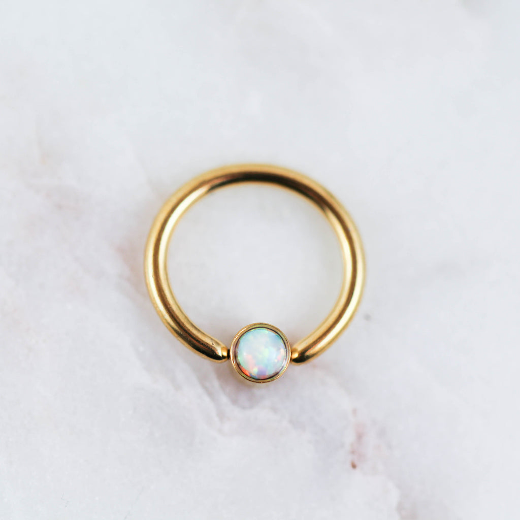 Set Opal Captive Bead Ring