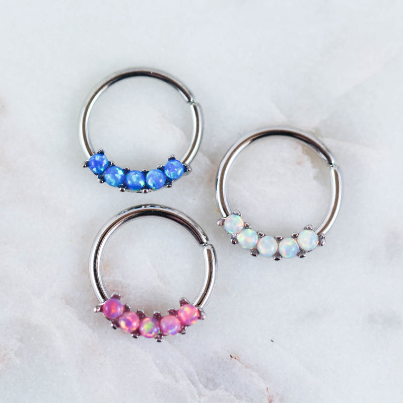 opal septum jewelry opal daith ring opal septum ring blue opal septum ring white opal septum ring pink opal daith ring opal hoop opal cartilage hoop