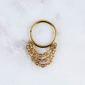 Gold chain septum jewelry septum ring gold chain earring gold chain hoop helix piercing jewelry gold chain cartilage hoop