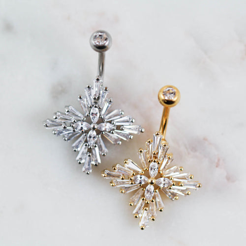 Stunning CZ Belly Ring Gem Belly Ring Belly PIercing Jewelry Navel Piercing Jewelry Navel Ring Gold Navel Ring Intricate Navel RIng