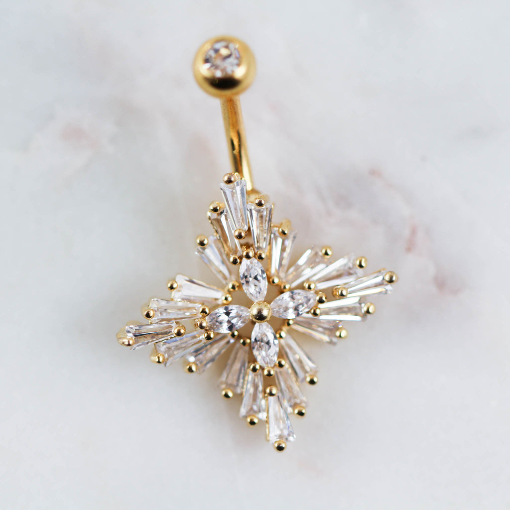 Close Up of Gold Art Deco Belly Button Ring. Gold Belly Ring.