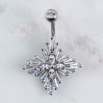 Silver Belly Ring with Crystals. Eccentric Body Jewelry. Eccentric Piercings.