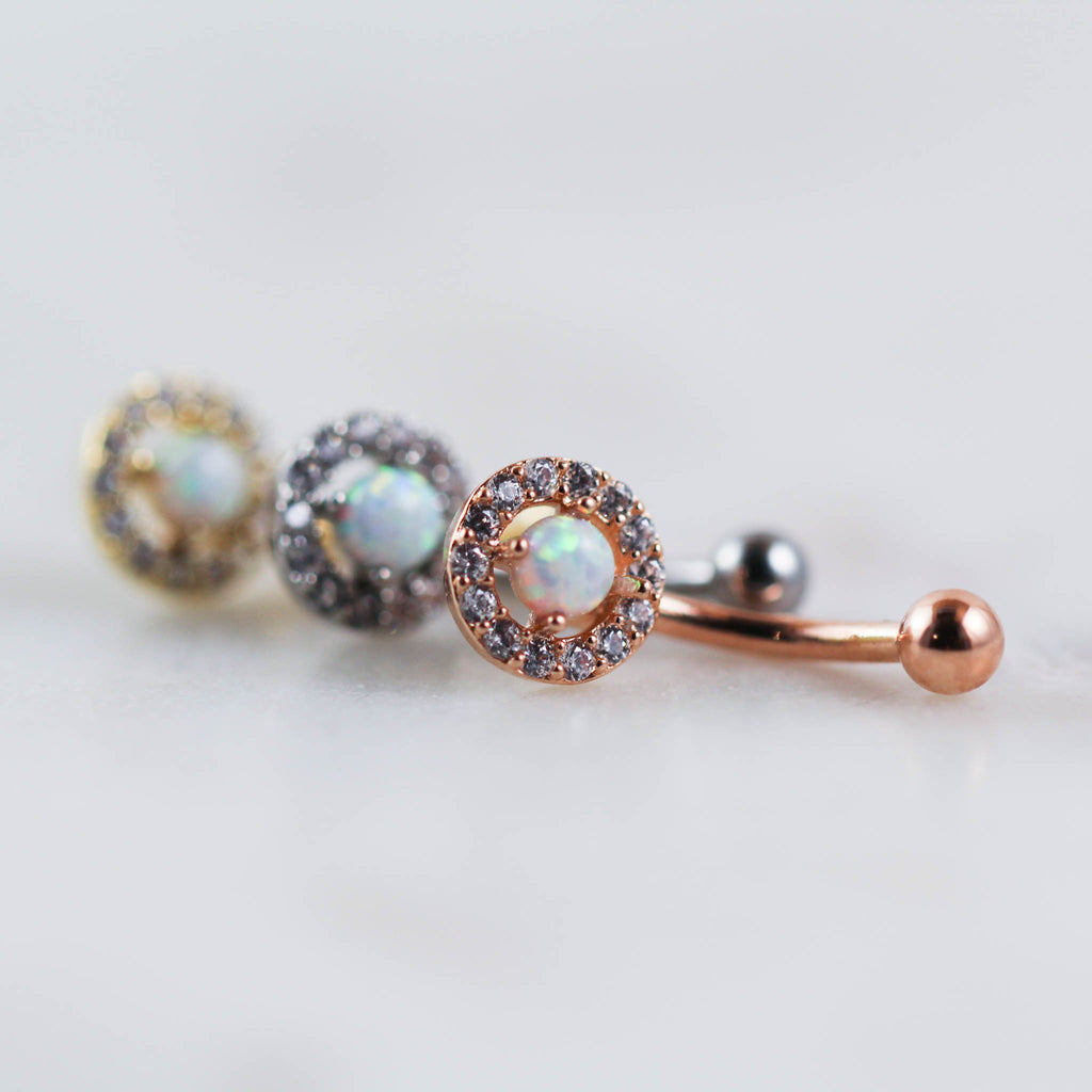White Opal and Gem Maia Curved Barbell for Rook and Eyebrow Piercings in Rose Gold Gold or Silver Rook Piercing Jewelry Eyebrow Piercing Jewelry Curved Barbell Piercing Jewelry Body Jewelry Navel Piercing
