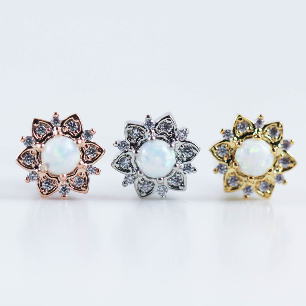 Opal Labret Jewelry Opal Piercing Jewelry Opal Earring OPal Rose Gold Cartilage Stud OPal Rose Gold Gold Helix Piercing Jewelry cartilage Piercing Jewelry