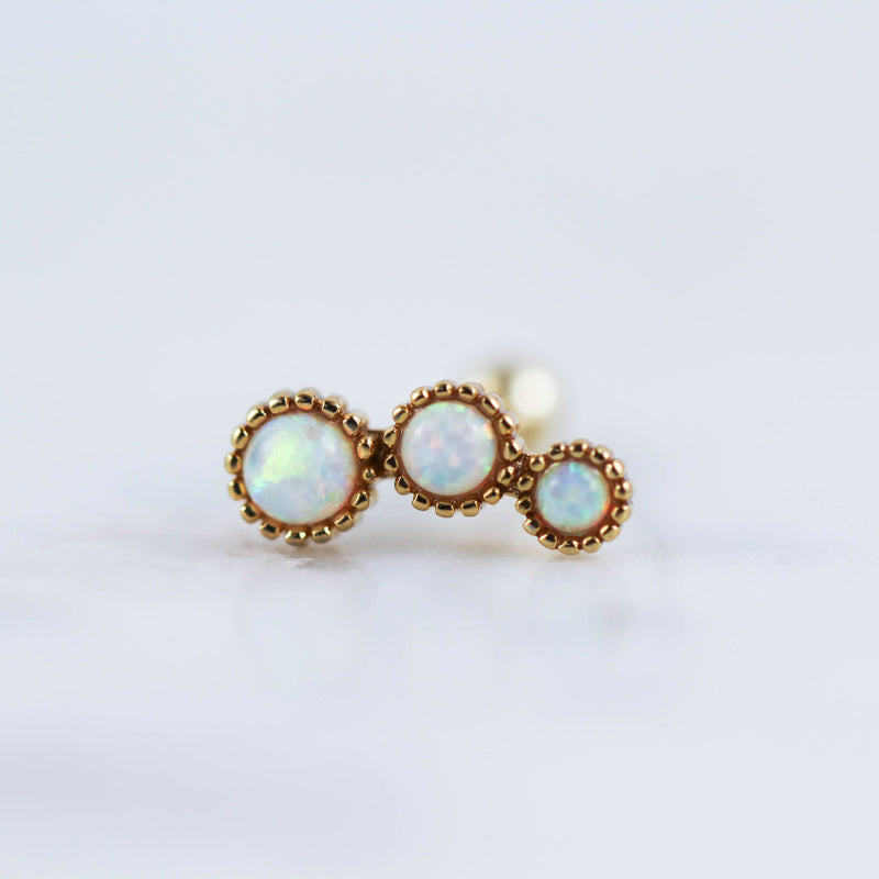 Scalloped Opal Curve Barbell Cartilage Piercing Jewelry Cartilage Stud Helix Piercing Jewelry Tragus Stud Conch Piercing Jewelry Lobe Earrings
