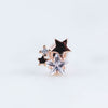 Gem Star Cluster Labret Stud Piercing Jewelry in Rose Gold