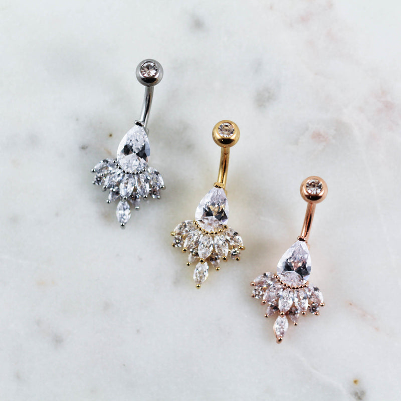 Cute Crystal Belly Rings in Rose Gold, Gold, and Silver for Navel Piercings