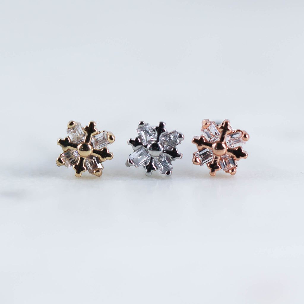 Snowflake Labret Piercing Jewelry for Cute Ear Piercings