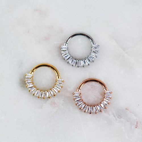 Cecile Clicker Body Jewelry Baguette Cut Crystal Clicker Piercing Jewelry Septum Clicker Septum Ring Lobe Hoop Earring Cartilage Hoop Daith Piercing Jewelry Daith Ring Daith Jewelry