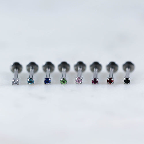 prong set gem labret internally threaded gem labret piercing jewelry tragus stud cartilage stud cartilage earring tragus earrings piercing jewelry body jewelry