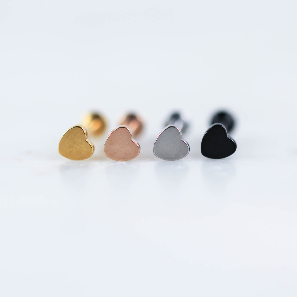 Heart Labret Piercing Jewelry Labret Stud in Gold, Rose Gold, Silver, and Black