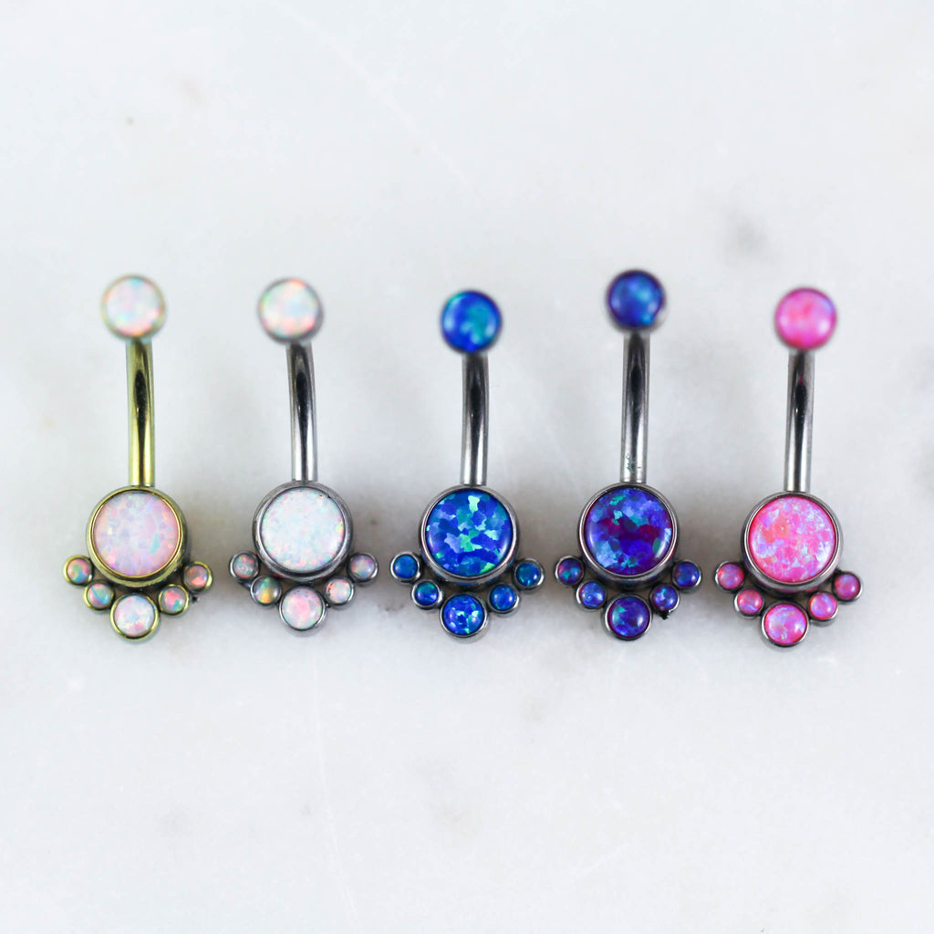 Titanium Opal Belly Button Ring in White Opal, Pink Opal Belly Ring, Blue Opal Belly Ring, Purple Opal Belly RIng, and Gold Opal Navel Piercing