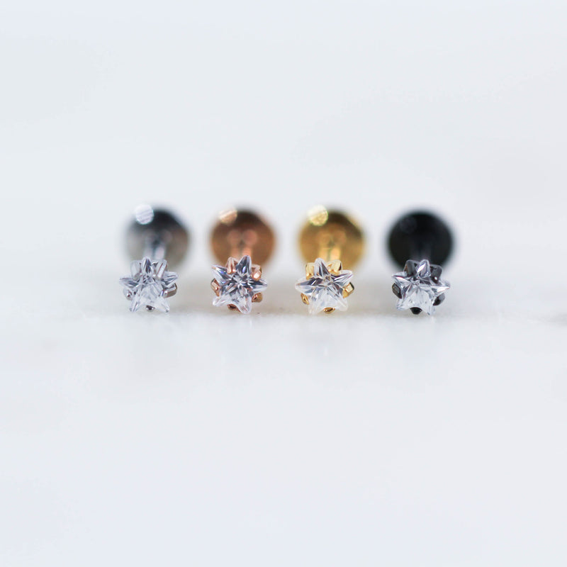 Crystal Star Labret Colored Gem Star Helix Piercing Stud Conch Piercing Stud