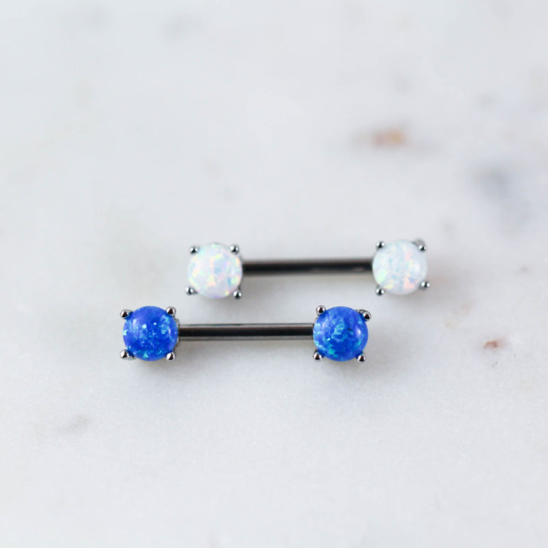 Opal Nipple Barbell Opal Nipple Ring Opal Nipple Piercing Jewelry Blue Opal Niple RIng White Opal Nipple Bar