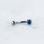 Single Gem Curved Barbell
